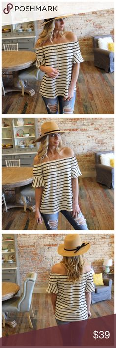 "Striped Ribbed Knit off the Shoulder Tunic Striped Ribbed Knit off the Shoulder Tunic  Modeling size small   Bust: S-17"", M-18"", L-19""  Length: S-21"",M-22"", L-23""  Material: 40% Cotton 43% Polyester 11% Spandex  Add to bundle to save when purchasing IRPDET6341603301050 Infinity Raine Tops Tunics"