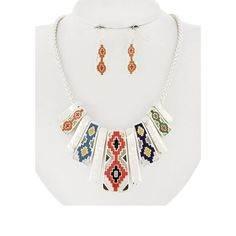 "Multi Color Necklace Set Silver Tone/ Multi Color Epoxy/ Lead Compliant/ Fish Hook (earrings)/ Graduating/ Length: 18 1/2""/ Earrings: 1 1/2/ Drop: 2"" R.E.A.L Jewelry Jewelry Necklaces"