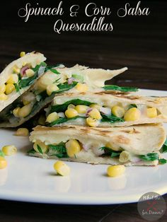 Spinach & Corn Salsa Quesadillas | MomsTestKitchen.com | #StandUpCheese #ad