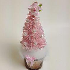 Mini Pink Bottle Brush Tree Mercury Glass Pearl Glitter Shabby Cottage Chic Rose #MyChicFrenchCottage