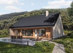 Murator C365j Przejrzysty - wariant X - zdjęcie 1 Small Modern House Plans, Modern Barn House, Modern Bungalow House, My House Plans, Rendered Houses, Airbnb House, Facade House, Cottage Homes, Building A House