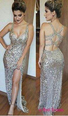 Luxurious Mermaid Long Prom Dress with Side Slit Evening Dress,Deep V-Neck Open Back Split Floor Length Beading Prom Dress,Silver Sequins Prom Dresses,Sexy Backless Prom Dress PD20186826