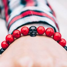 gentclothes: Mixed Bead Bracelet with Skull Charm - Get 10% OFF...