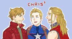 The Many Chrises of Marvel - Chris Pratt (Peter Quill), Chris Evans (Steve Rogers) & Chris Hemsworth (Thor).