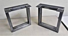 Set of 2 Square Bench Legs, Model #BTSQ12, Industrial, Metal tubing Legs 16 H x 16 W