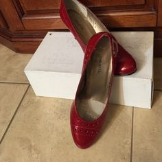 """Patent leather red vigor to shoes These are Italian very well made and worn once.  Heel is about 2 """" Vigotti Shoes Heels"""