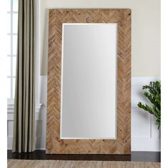 Uttermost Demetria Oversized Wooden Wall or Leaner Mirror - 43.75W x 74H in. - 07068