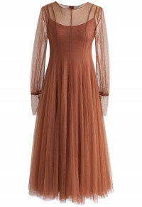 Lightsome Steps Layered Mesh Tulle Dress in Caramel