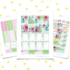 Spring printable planner stickers for use with Erin Condren Life Planner and others. Printable download sticker kit featuring tips on how to use and print.