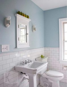 pale duck egg blue brick tiles with crisp white and light timber is