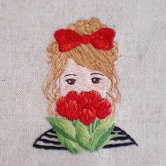 * . チューリップと女の子🌷 . .  #刺繍#手刺繍#ステッチ#手芸#embroidery#handembroidery#stitching#needlework#자수#broderie#bordado#вишивка#stickerei