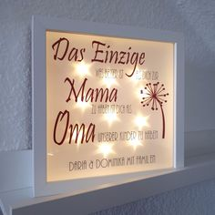 "Picture frames - Illuminated picture frame ""Grandma"" - a designer piece by Tulli-Ma . Picture Frames – Illuminated picture frame ""Grandma"" – a unique product by Tulli-Maus on DaWand Marco Diy, Wedding Decorations, Christmas Decorations, Different Colors, Diy Gifts, Picture Frames, Wedding Venues, Beautiful Pictures, Christmas Gifts"