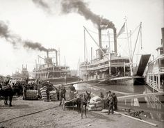 Loading the Delta Queen Riverboat in the early 1900s on the Mississippi River in New Orleans