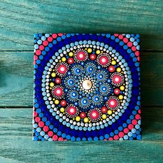 Handmade mandala dot painted on canvas. Unique Art pieces carefully created with a lot of joy and attention to details. Painted on canvas with acrylic. Mandala Canvas, Mandala Artwork, Mandala Dots, Mandala Painting, Mandala Pattern, Mandala Design, Pattern Art, Dot Art Painting, Mini Paintings