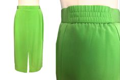 Original Vintage Jacques Vert Lime Green Chartreuse Longline Front & Back High Slit Formal Event Pencil Skirt w/ Elasticated Waist M-L Power Dressing, White Trim, Long A Line, Tulip, Mother Of The Bride, Lime, Minimalist, Pencil, Blue And White