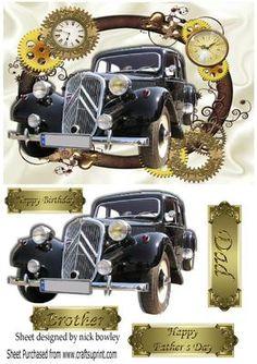 Lovely Black Vintage car in gold frame of vintage clocks on Craftsuprint - Add To Basket!