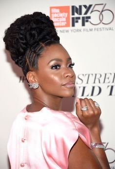 Teyonah Parris' Natural Updo At The Beale Street Premiere Was Glorious Natural Hair Updo, Natural Hair Care, Natural Hair Styles, Natural Updo Hairstyles, Braided Hairstyles, Elegant Hairstyles, Hairstyle Ideas, Bob Hairstyles, Braids For Black Women