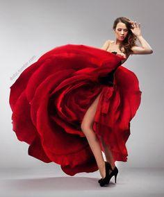 Hochzeitskleid rot RED  ROSE DRESS