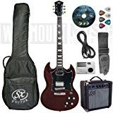 Based on the iconic Gibson SG (played by Angus Young from AC/DC) this pack just screams out ROCK!!  Perfect starter pack it includes SG style guitar, 10W Practise Amp, guitar bag, Tuner, Strap, Plectrums and an  Instructional DVD to get you going.  A great gift for your Angus Young wannabe beginner electric guitar player.