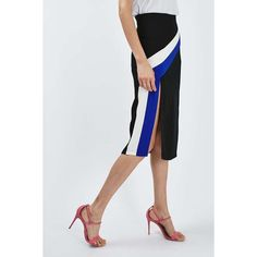 Topshop Colour Block Stripe Midi Skirt (64 BRL) ❤ liked on Polyvore featuring skirts, topshop skirts, colorblock skirts, calf length skirts, color block skirts and block print skirts