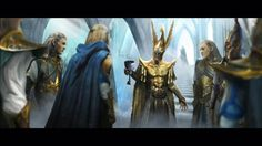 The Princes of Ulthuan choosing Bel Shannar over Malekith to succeed Aenarion in the wake of the war with Chaos