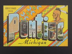 Pontiac MI Michigan Vintage Linen Postcard - Greetings Large Letter Indian