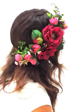 flower hair Custom headpiece, Bohemian Bridal, headband Romantic flower crown from big and small artificial flowers. Red Flower Crown, Flower Crown Wedding, Red Flowers, Red Roses, Bridal Crown, Flower Crowns, Flower Hair, Rose Wedding, Red Headband