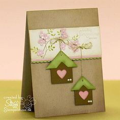 tags or squares + photo corners = adorable birdhouses