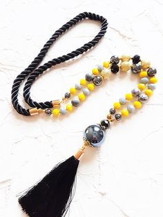 Yellow necklace, Black tassel necklace, Layer necklace, Long beaded necklace, Jasper necklace, Boho necklace, Mala necklace, Girlfriend gift by GentleColorsJewelry on Etsy