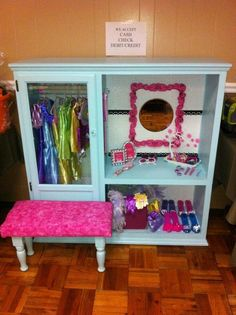Dress up closet from oak entertainment center  I know a couple of little  girls that would like this in the playhouse  Sorry girls  no room    Can put ontop of another cabinet so that the mirror is face height  . Diy Vanity For Little Girl. Home Design Ideas