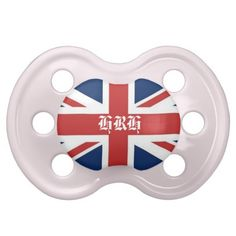 'HRH' Her Royal Highness British Flag Baby Pacifiers in Pink