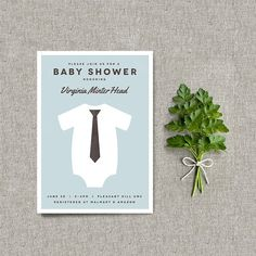 Little Guy in a Tie Baby Shower Invitation / Baby Shower Invite / Tie and Onesie Shower / Digital Printable Design / Simple