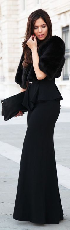 Formal Long Black Mermaid Skirt Suit and Black Faux Fur Stole (OK it's not satin but this formal suit is gorgeous)