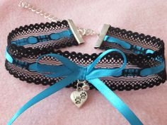 Black Lace Blue Ribbon Cosplay Paw Print Charm by KittenTreasures