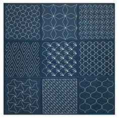 Japanese, denim, indigo, sashiko stitch patterns