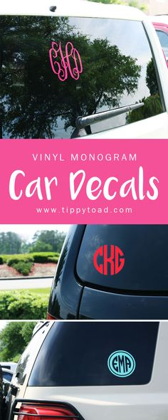 Adorable vinyl monogram stickers for accenting car windows, dorm windows, laptops, iPads, and more. A great birthday gift idea for a sweet sixteen party and for college send-offs or recent high school grads. Pre-cut with your monogram initials and measuri Monogram Stickers, Vinyl Monogram, Monogram Initials, Car Stickers, Vinyl Crafts, Vinyl Projects, Craft Projects, Silhouette Cameo Projects, Silhouette Design