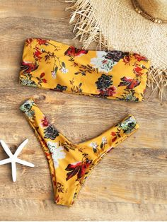 af82f1f780aa7 Shop for Strapless Floral High Cut Bikini Set MUSTARD  Bikinis S at ZAFUL.  Only