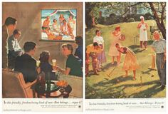 """Vintage Beer Ads Home Life in America Series (L) """"Vacationers Reunion"""" by Douglass Crockwell 1953 (R) """"Dad Takes On the Comers"""" Douglass Crockwell 1954"""