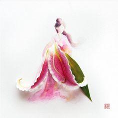 Flower art | Artista mistura aquarela e pétalas de flores de verdade para criar…