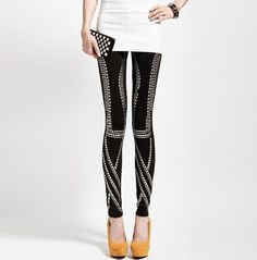 Rivet Decorate Fashion Leggings For Women Black (sorry for all these legging pins, but I'm in loooove)