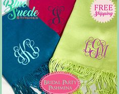 Monogrammed Pashmina Shawl - Bridal Party | monogram pashmina | Personalized | bridal party gifts
