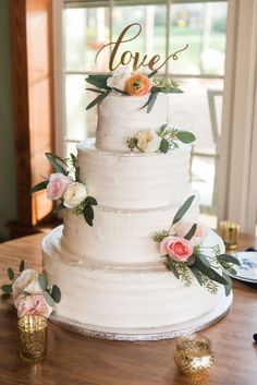 Simple wedding cake with cake topper and flowers - Groveland, Florida