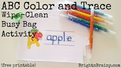 Free, printable alphabet color and trace busy bag activity to laminate and take with you. Just pop a few markers and a wipe in your bag, and hey presto! Alphabet Coloring, Busy Bags, Cleaning Wipes, Markers, Activities For Kids, Free Printables, Printable Alphabet, Grandkids, Business