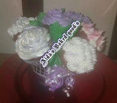 Red velvet cupcake bouquet .