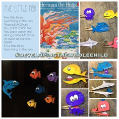 Beach and Ocean activities for toddlers and kids.  Develop fine motor skills with clothes peg fish that go along with Charlotte Diamond's Octopus (Slippery Fish) Song.  Have fun reciting the Five Little Fish poem with magnetic foam pieces!