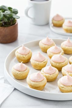 Lemon Sugar Cookie Cups with Strawberry Frosting #recipes #food #drink #cuisine #boissons #recettes