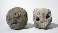 Iron Age stone heads via Bran-y-Garth Well Cottages, England, Shropshire, Bran-y-Garth