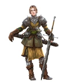Female Human Fighter Warrior Mercenary - Pathfinder PFRPG DND D&D 3.5 5E 5th ed d20 fantasy