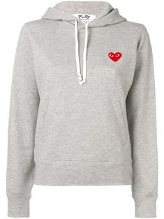 Shop online Comme Des Garçons Play logo embroidered hoodie as well as new season, new arrivals daily. Play Clothing, Size Clothing, Comme Des Garcons Play, Rei Kawakubo, Cotton Logo, Signature Design, Grey Hoodie, Heart Print, Designing Women