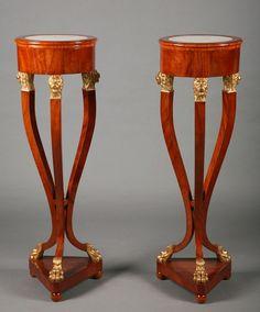 Pair of Italian mahogany veneered  pedestals. Circa 1810.